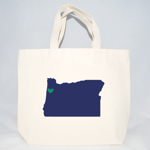 Medium Oregon cotton canvas tote bags screen printed for wedding welcome totes
