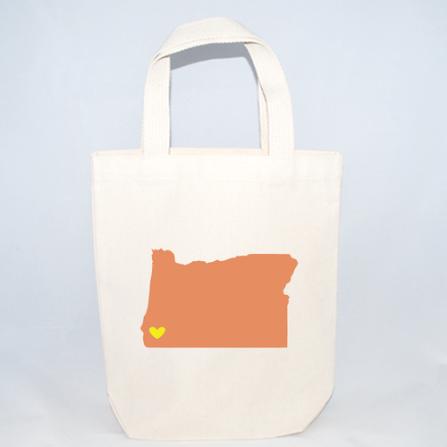 Small tote bag with Oregon and customizable colors and hearts