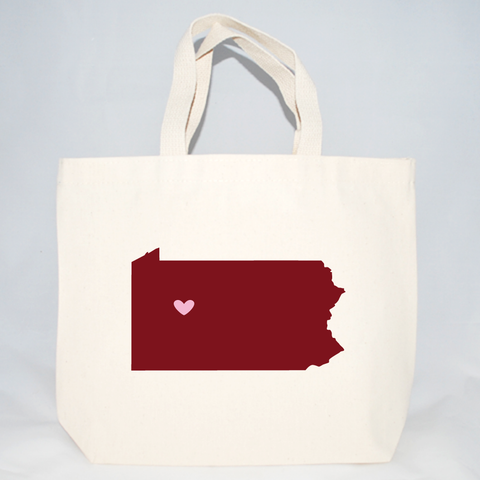 Medium Pennsylvania screen printed tote bags