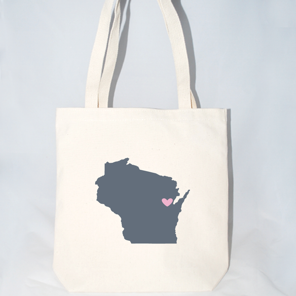 Wisconsin tote bags for weddings, markets, events, etc.