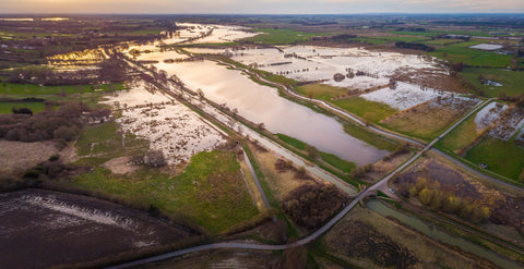 The Yorkshire Ings in flood from above by David Hopley