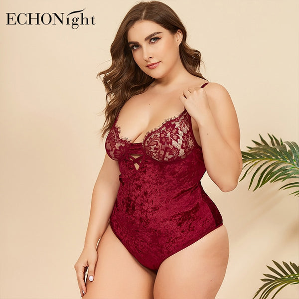 Echonight Plus Size Bodysuit Women 4XL Bodysuit Lace Sleeveless Rompers Overalls Women's Clothing Fitness Body Suits For Women