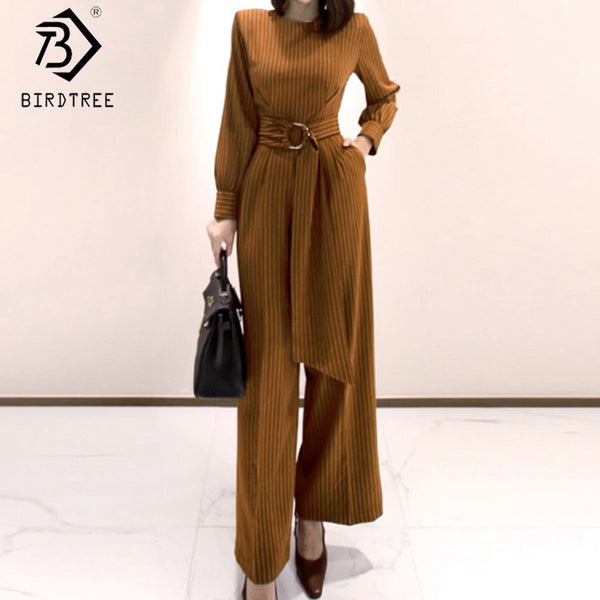 2020 Spring New Women's Office Lady Long Sleeve Striped Sashes Jumpsuits Fashion O-Neck High Waist Slim Female Rompers S01217O