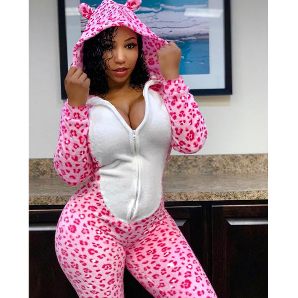 Women's Loose One Piece Jumpsuit Pajamas Fall Cheetah Print Clothes Long Sleeve Sexy Outfits For Female Rompers Ladies Playsuits