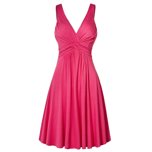Women's Plus Size Summer Dress Sleeveless Sexy Solid V-neck Retro Sling Dress Pleated Slim Flare Party Sundress