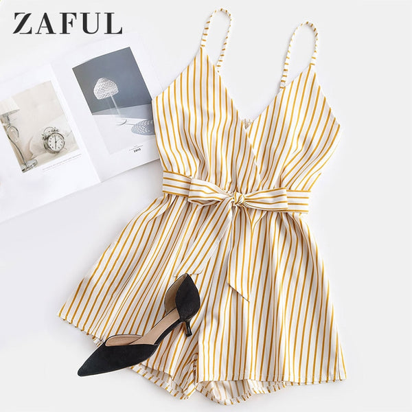 ZAFUL Women's Playsuits Shorts Striped Surplice Cami Romper Sleeveless V-Neck Casual Loose Beach Rompers Sexy Jumpsuit
