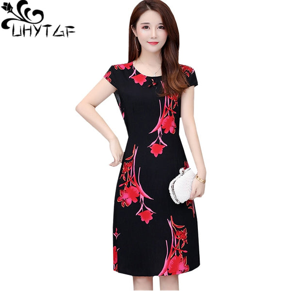 UHYTGF Vestido 6XL plus size dresses women Fashion print elegant summer dress Cotton silk soft Short sleeve O neck Mini dress275