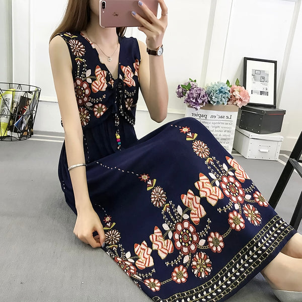 24models hot search Bohemian dress 2019summer women's new floral national wind large size cotton silk sleeveless dress femalel55