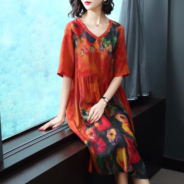 Silk Women Casual Summer Elegant Print Plus Size Dress V Neck Floral Women's Dresses Vintage Vestido 2020 KJ1065