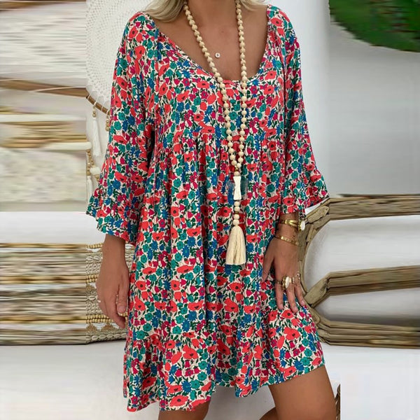 Women's Vintage Summer Dress Ladies Loose Plus Size Print Long Sleeve V-neck Mini Dress Off Shoulder Dresses Платье Женское