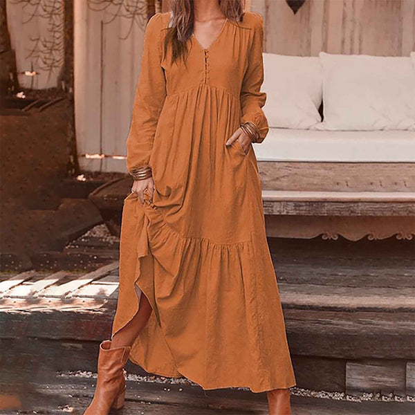 vestido de mujer Autumn And Winter Women's Button Cotton Hemp Retro Casual Long Sleeve Dress femme robe платье 2021