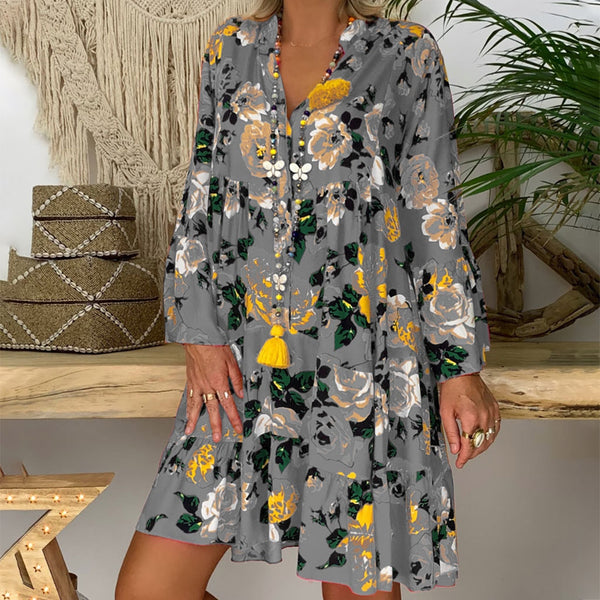 Women's Ladies Loose Print Three Quarter Sleeve Mini Dress Summer Dress Robe Ete Ropa De Mujer Boho Yoke Frill Trim