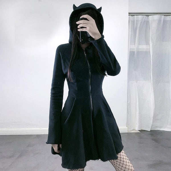 vestido Women's Gothic clothing Dress Cat Ear Hoodie Pullover Long Sleeve Hooded Cute Sweatshirt  Dress Undefined платье 2021