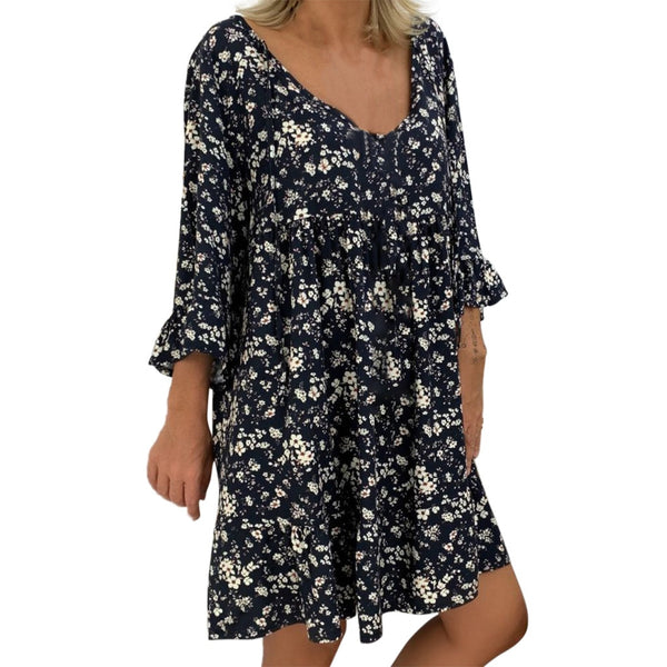 Women's Vintage Summer Dress Ladies Loose Plus Size Print Long Sleeve V-neck Mini Dress Off Shoulder Dresses vestido de mujer