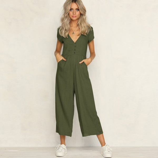 Women's Wear Sexy Short Sleeve V-neck Button Holiday Jumpsuit Pants White Khaki Green Black Jumpsuit Romper