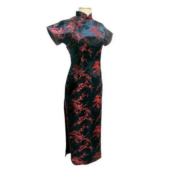 Black Red Chinese Traditional Dress Women's Silk Satin Qipao Long Cheongsam Flower Plus size 4XL 5XL 6XL YQ2089