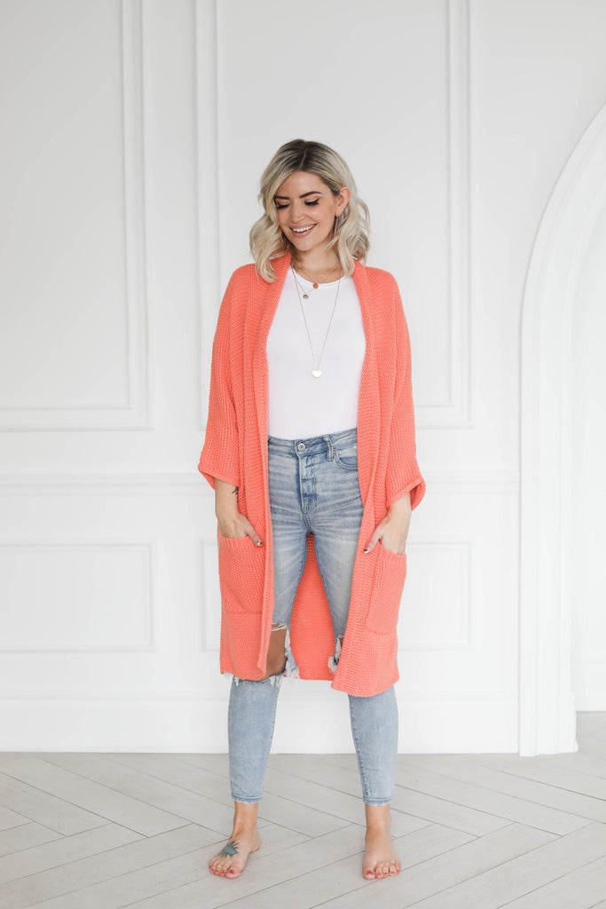 The Erinn Cardigan x The Birds Papaya - Papaya