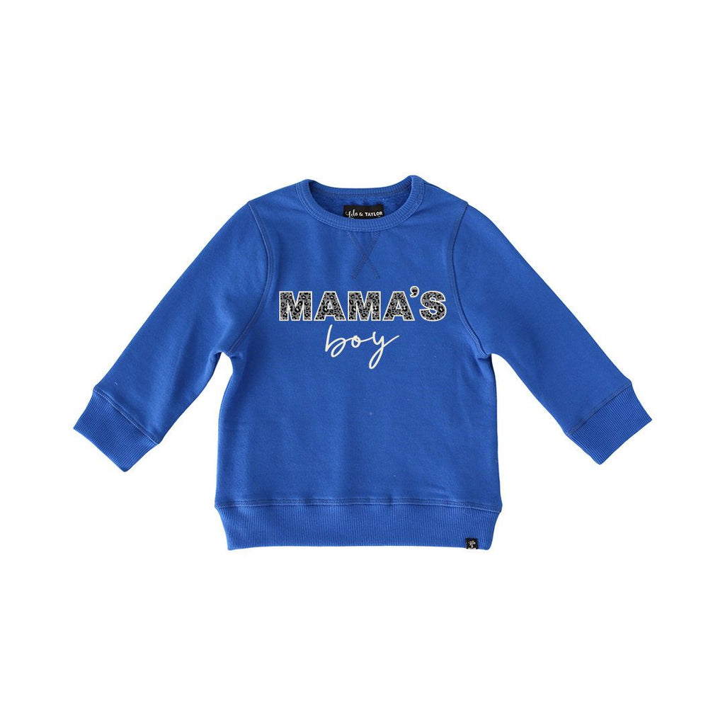 The Mama's Boy Sweatshirt - Cobalt + Leopard