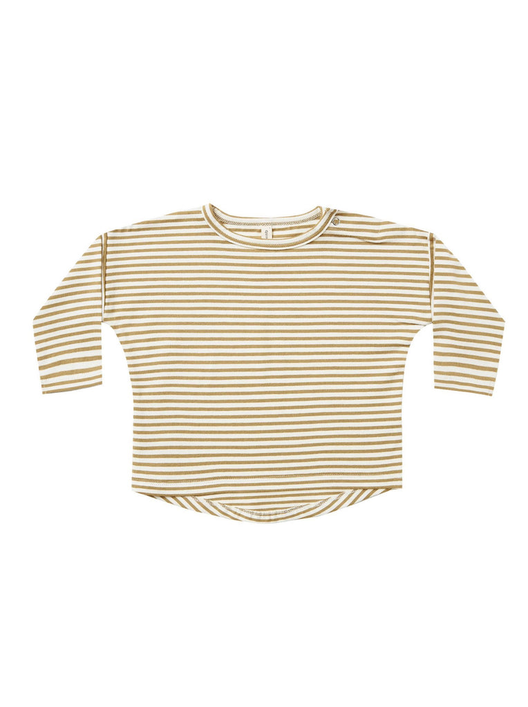 The Long Sleeve Tee by Quincy Mae - Gold Stripe