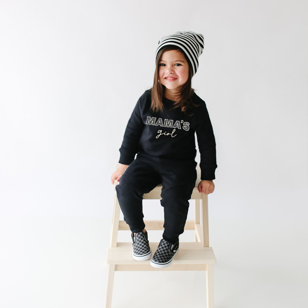 The Mama's Girl Sweatshirt - Black + Leopard