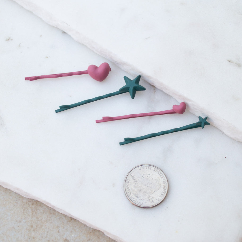 The Heart + Star Hair Pin - Various Colours