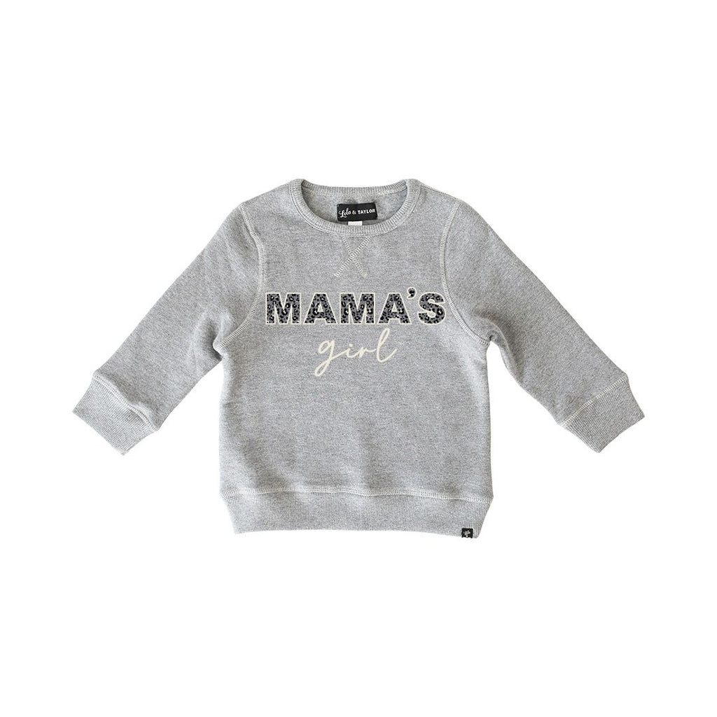 The Mama's Girl Sweatshirt - Grey + Leopard