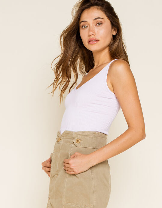 The Solid Rib Brami by Free People - White