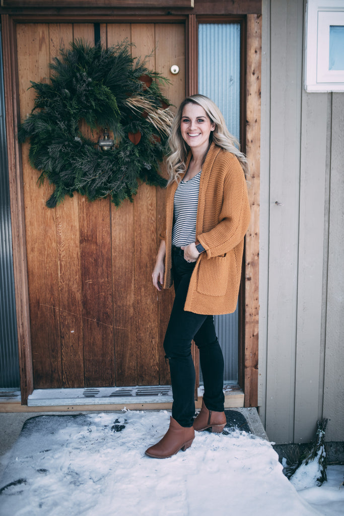 The Erinn Boyfriend Cardigan - Mustard
