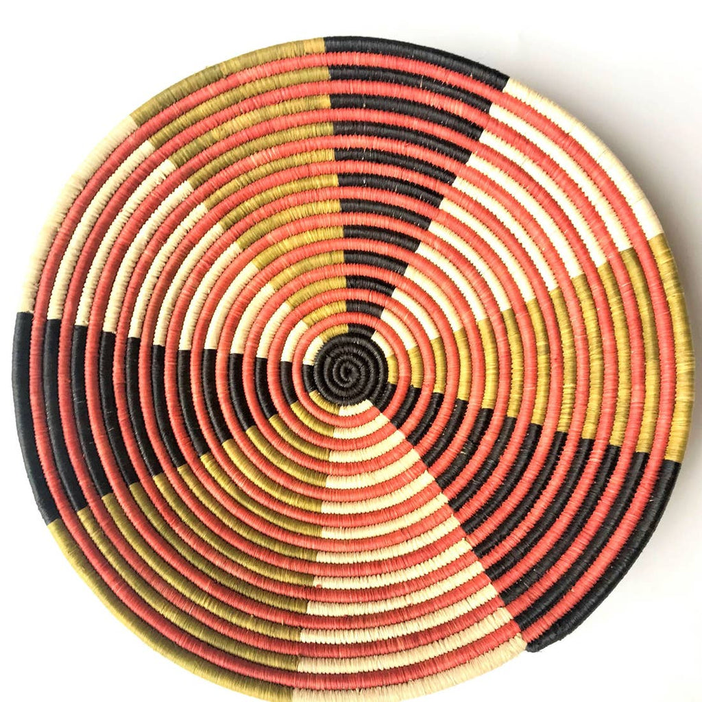 The Raffia Basket Large - Red Stripe