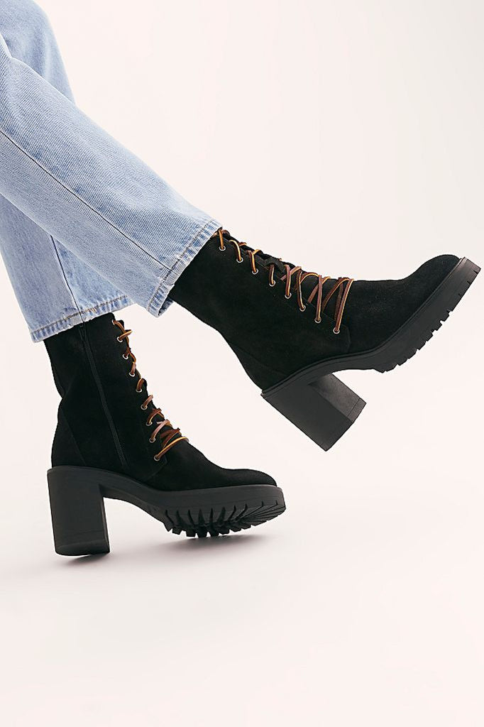 The Dylan Lace-Up Boots by Free People - Black
