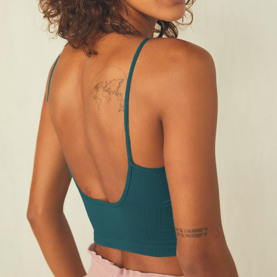 The Ribbed V-Neck Brami by Free People - Deep teal