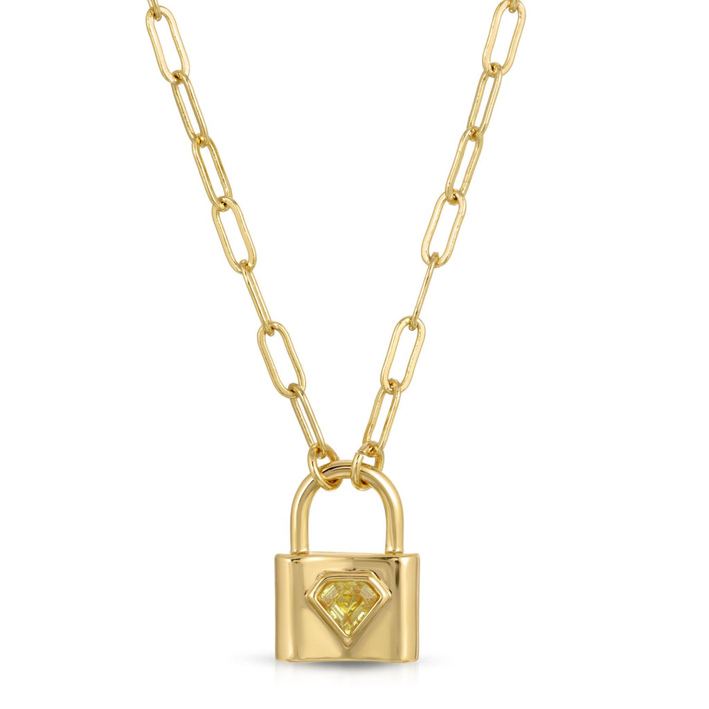 The Indio Lock Necklace - Citrine