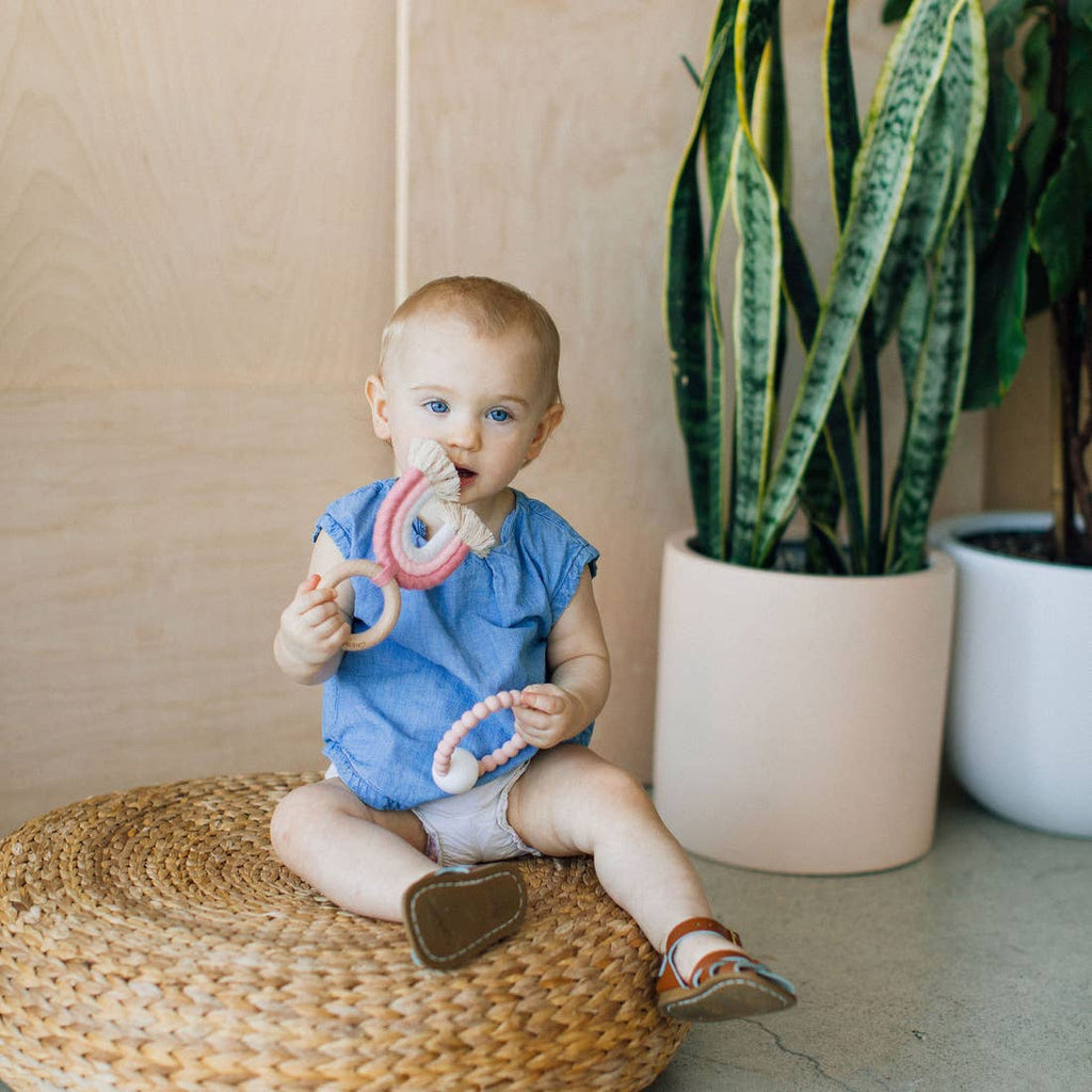 The Rainbow Macrame Teether - Rose + Blush