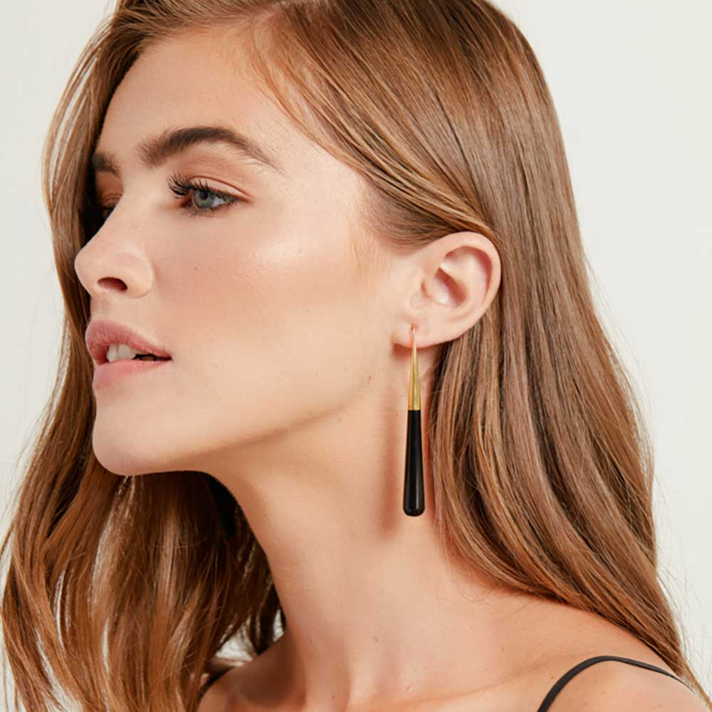 The Horn Pia Threader Earrings - Black