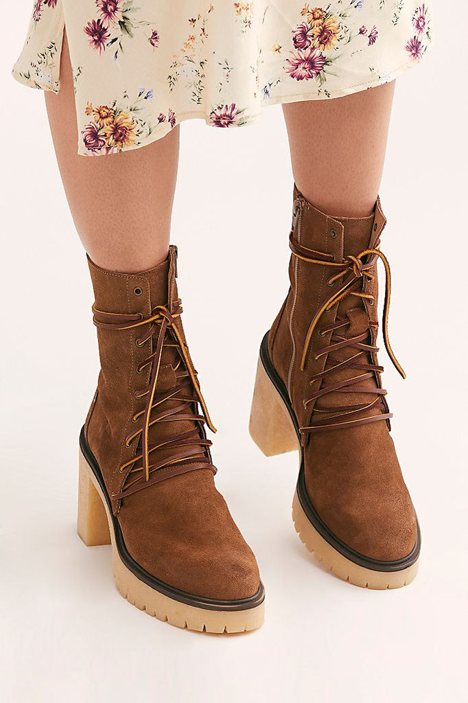 The Dylan Lace-Up Boots by Free People - Taupe