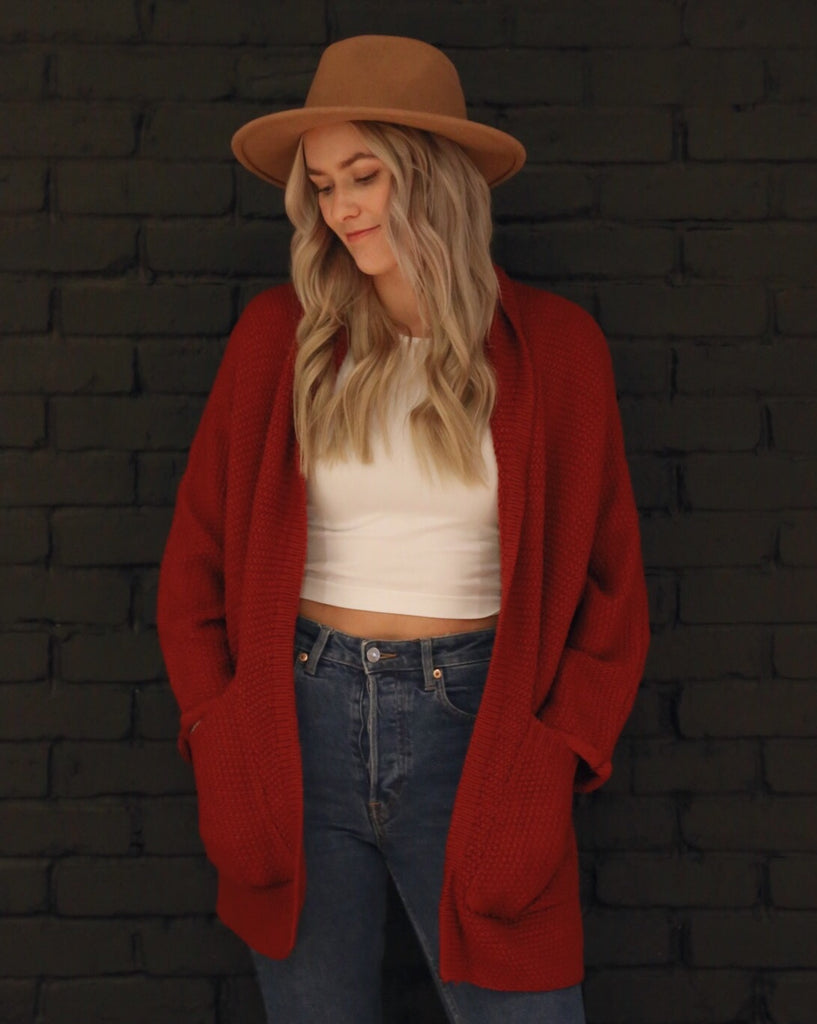 The Erinn Boyfriend Cardigan - Crimson