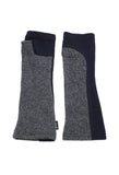 grey and navy upcycled wool arm warmers by Jennifer Fukushima