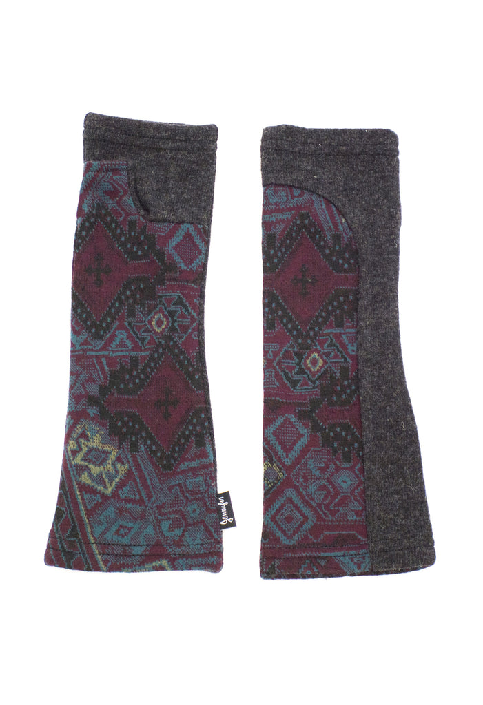grey and burgundy upcycled wool arm warmers by Jennifer Fukushima