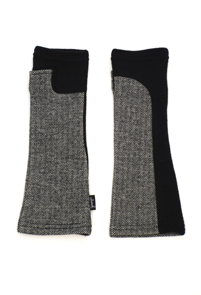 black and white upcycled wool hand warmers by Jennifer Fukushima