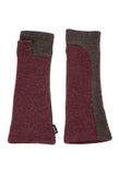 upcycled burgundy and brown armwarmers by Jennifer Fukushima