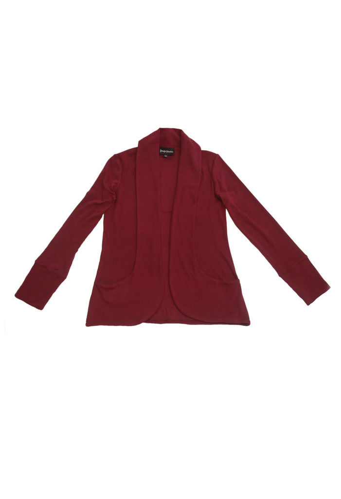 burgundy cardigan sweater with shawl collar and pockets