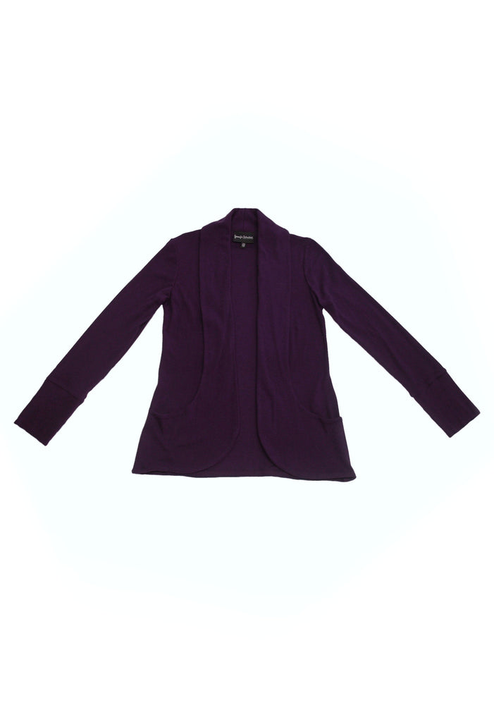 purple bamboo shawl collar cardigan sweater with pockets