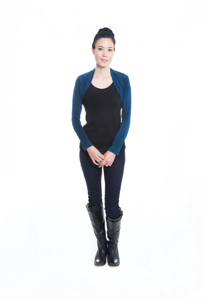 blue merino wool jersey knit shrug with long sleeves
