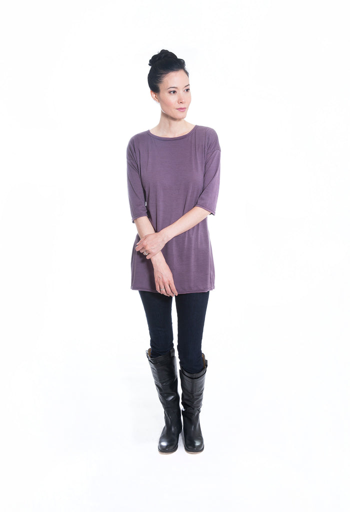 purple merino wool jersey knit sweater tunic