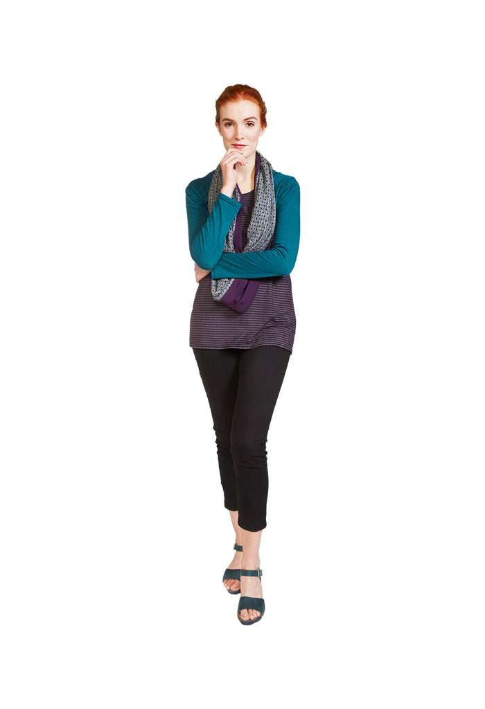 Organic cotton bamboo teal slub jersey shrug with purple and grey stripe tank top and grey hole knit bamboo cotton infinity scarf by Jennifer Fukushima