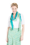 long skinny green and turquoise tweed scarf