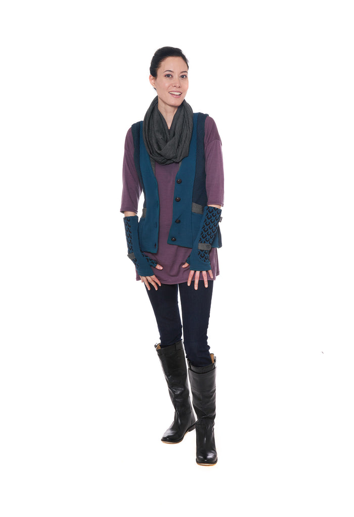 Teal vest and gloves with purple merino tunic and grey scarf by Jennifer Fukushima.