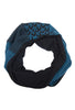 teal and black cotton cowl scarf by Jennifer Fukushima