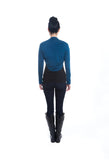 blue merino wool jersey knit shrug back view