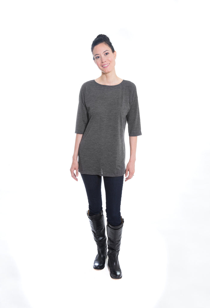 grey merino wool jersey knit sweater tunic dress